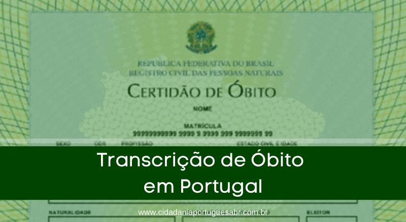 transcrição de óbito em Portugal